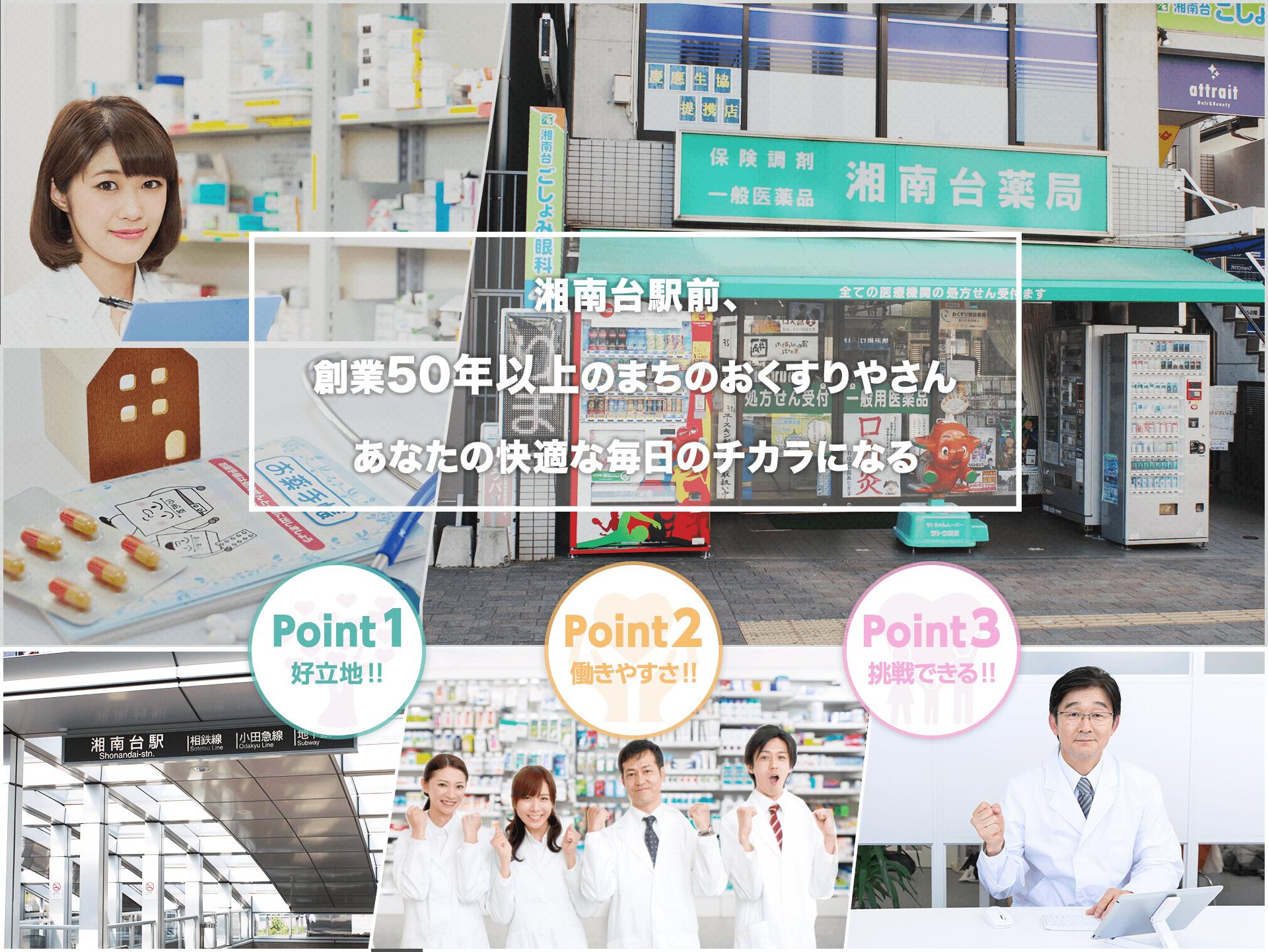 湘南台駅前、創業50年以上のまちのおくすりやさんあなたの快適な毎日のチカラになる